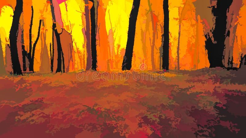 drzewa w parku z żółtymi liśćmi obraz stock