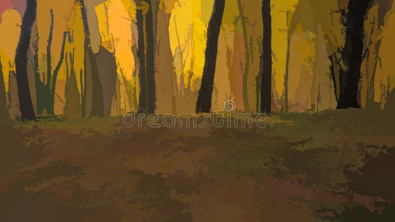 drzewa w parku z żółtymi liśćmi fotografia royalty free