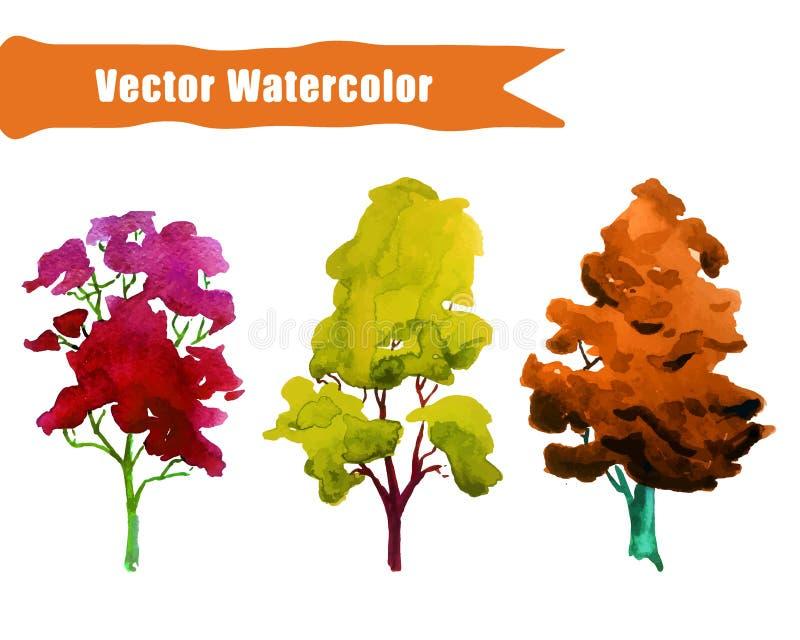 Drzewa Watercolor1 royalty ilustracja
