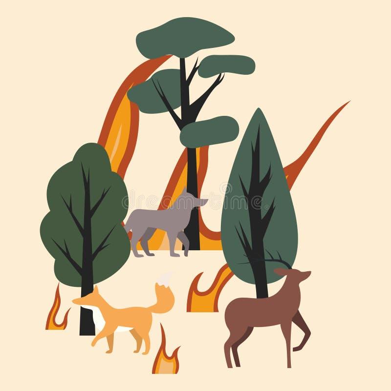 Drzewa, zwierzęta i płomienie, Las jest na ogieniu Płonący las z zwierzętami rogacze, lis i wilk -, ilustracji