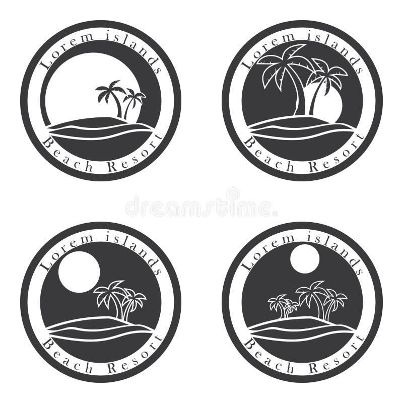 Drzewka palmowe i słońce, miejscowość nadmorska loga projekta szablon tropikalny wyspy lub wakacje ikony set ilustracja wektor