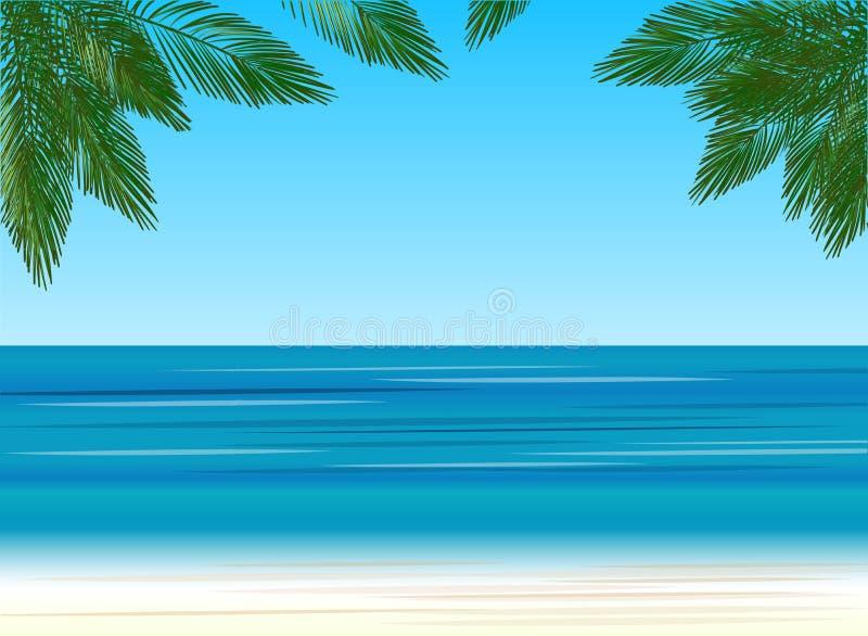 Drzewka palmowe na tle morze ilustracja wektor
