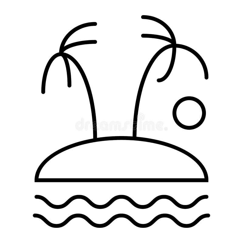 Drzewka palmowe na wyspie cienieją kreskową ikonę Tropikalna wektorowa ilustracja odizolowywająca na bielu Plażowy konturu stylu  ilustracja wektor