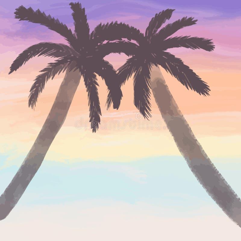 Drzewka palmowe nie morzem dwa drzewka palmowego przy zmierzchem, ładni kolory, romantyczna ilustracja, lato skład ilustracja wektor