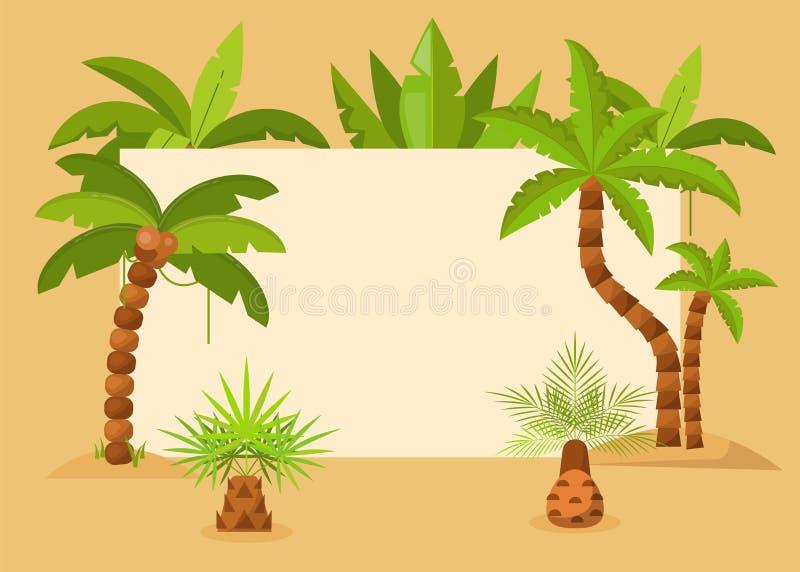 Drzewka palmowe obramiają wektorową ilustrację Lata tropikalny tło z egzotyczną palm drzew i liści ramą data save ilustracji