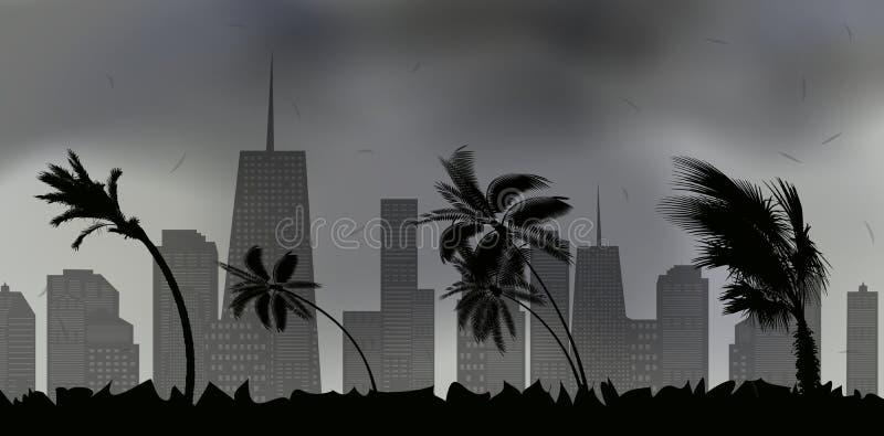 Drzewka palmowe podczas burzy i huraganu Liście latają przez niebo miasto od burzy również zwrócić corel ilustracji wektora ilustracja wektor