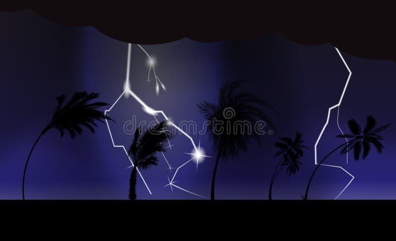 Drzewka palmowe podczas burzy i huraganu Liście latają przez niebo od burzy również zwrócić corel ilustracji wektora ilustracji