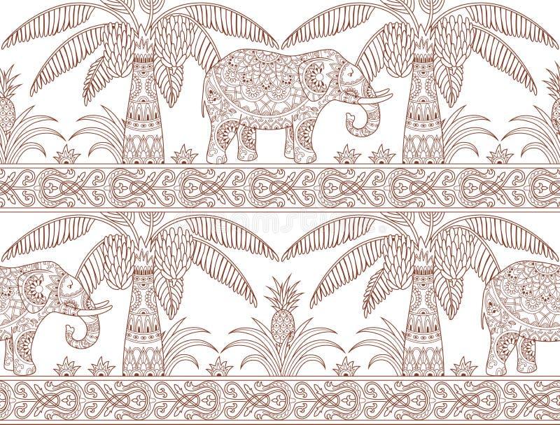 Drzewka palmowego i słonia wzoru kontur ilustracji
