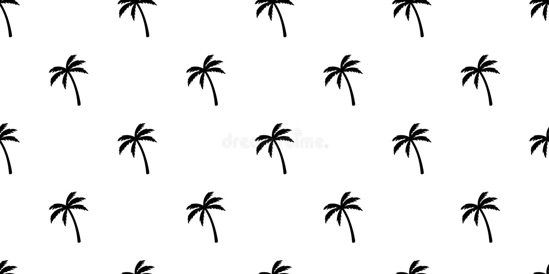 Drzewka palmowego kokosowego drzewa wyspy plaży lata tła powtórki tapety bezszwowy deseniowy wektorowy tropikalny szalik odizolow royalty ilustracja