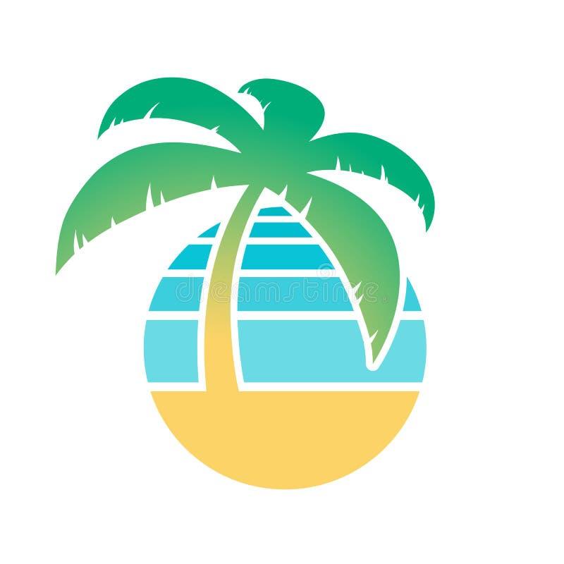 Drzewko palmowe i tropikalna plażowa ikona ilustracja wektor