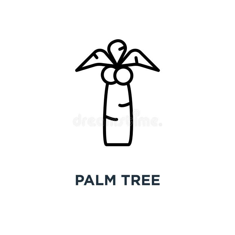Drzewko palmowe ikona Liniowa prosta element ilustracja Coco palma co royalty ilustracja