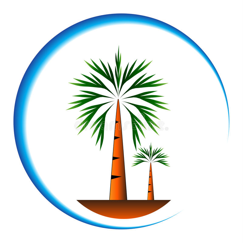 Drzewko palmowe ikony kreskówka royalty ilustracja