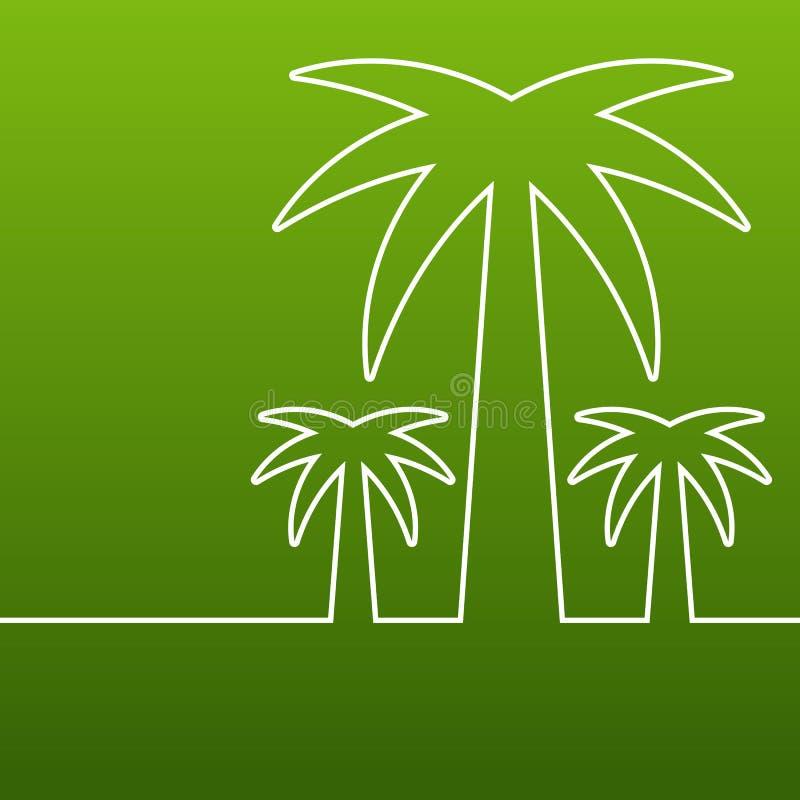 Drzewko palmowe kreskowa sylwetka Wektoru zielony abstrakcjonistyczny tło z royalty ilustracja