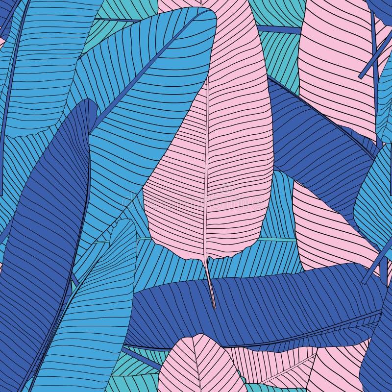 Drzewko Palmowe liścia sylwetki tła wektoru Bezszwowa Deseniowa ilustracja ilustracji