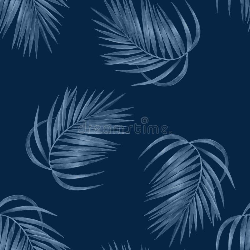 Drzewko palmowe opuszcza bezszwowego wzór ilustracja wektor