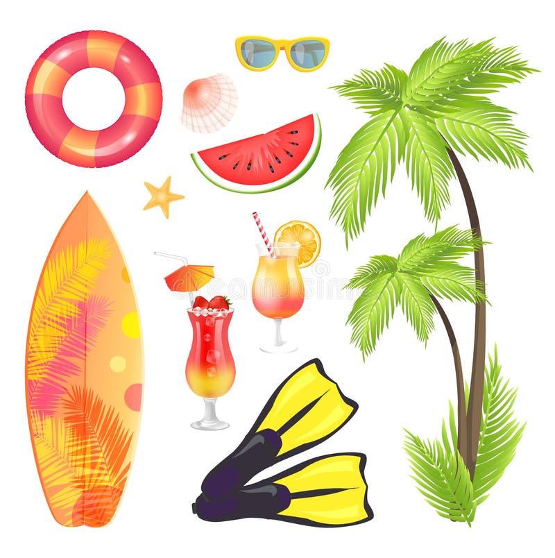 Drzewko Palmowe surfingu deski Ustalona Wektorowa ilustracja ilustracja wektor