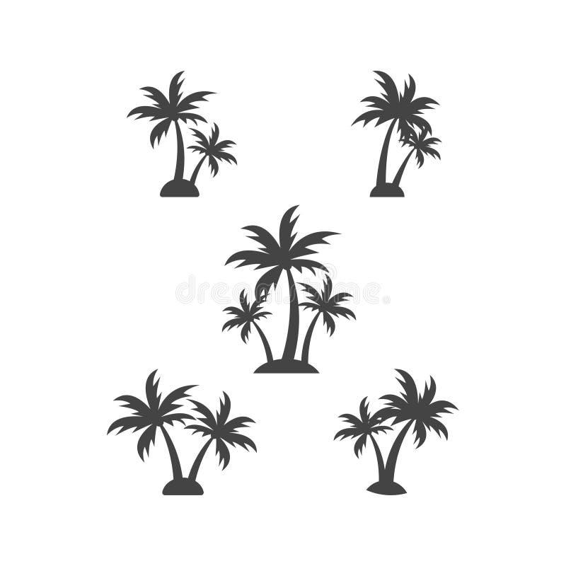 Drzewko palmowe sylwetki graficznego projekta elementu szablonu wektoru ilustracja royalty ilustracja