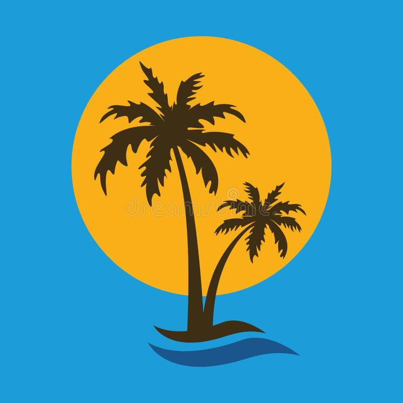 Drzewko palmowe sylwetki wakacje letni ikona z s?o?cem i fal? ilustracja wektor
