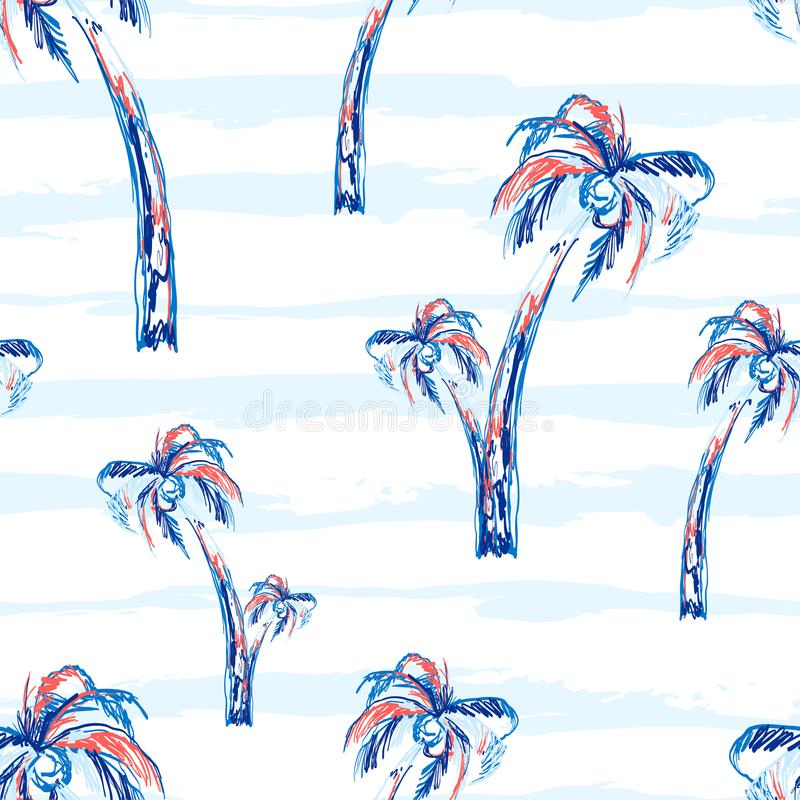 Drzewko palmowe wektoru wzoru bezszwowy tło z drzewkami palmowymi Zwrotnika lata projekt z lampasami ilustracji