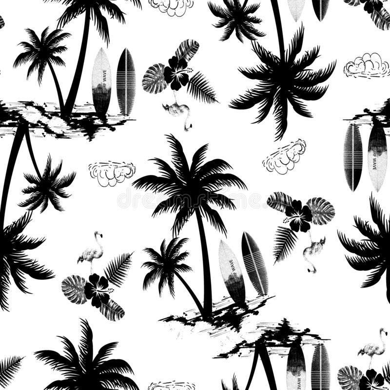 drzewko palmowe wyspa z flaminga ptakiem i tropikalnych kwiatów bezszwowym wzorem ilustracji