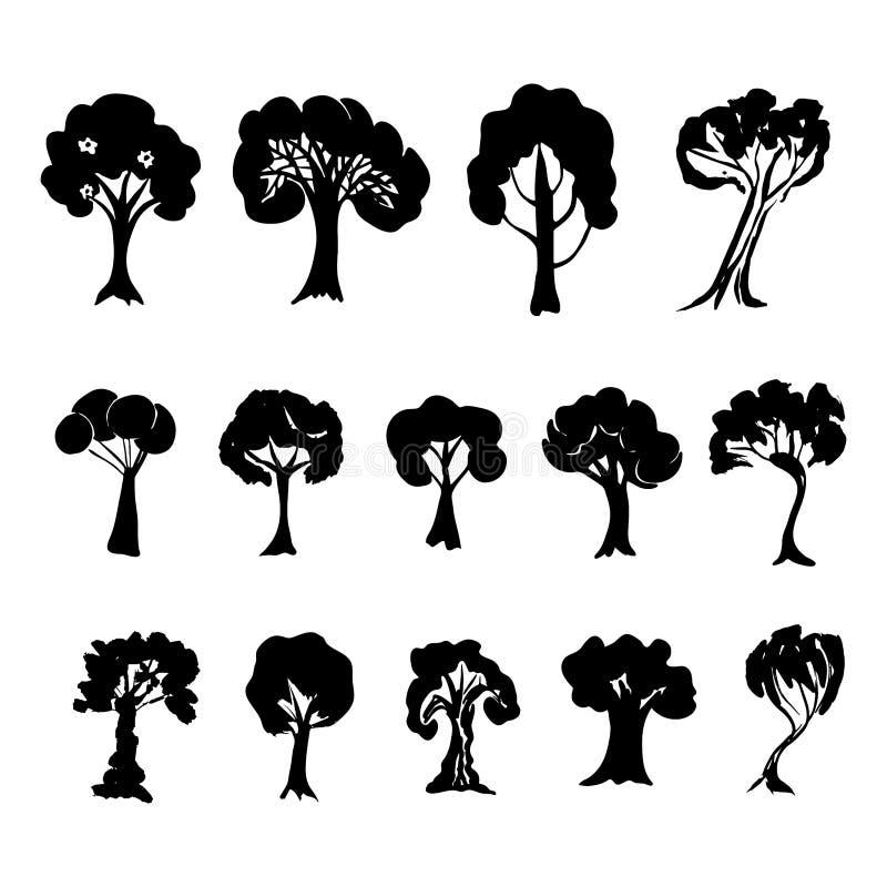 Drzewna kolekcja Set czarne drzewo sylwetki odizolowywać na białym tle wektor ilustracja wektor