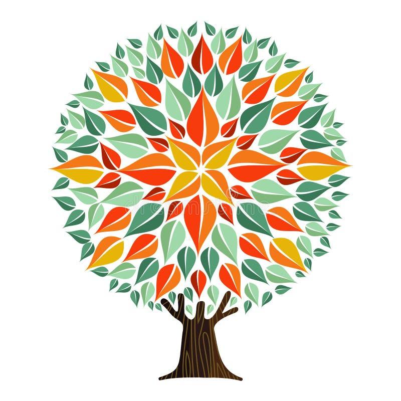Drzewna mandala liścia sztuka z jesień liśćmi ilustracja wektor
