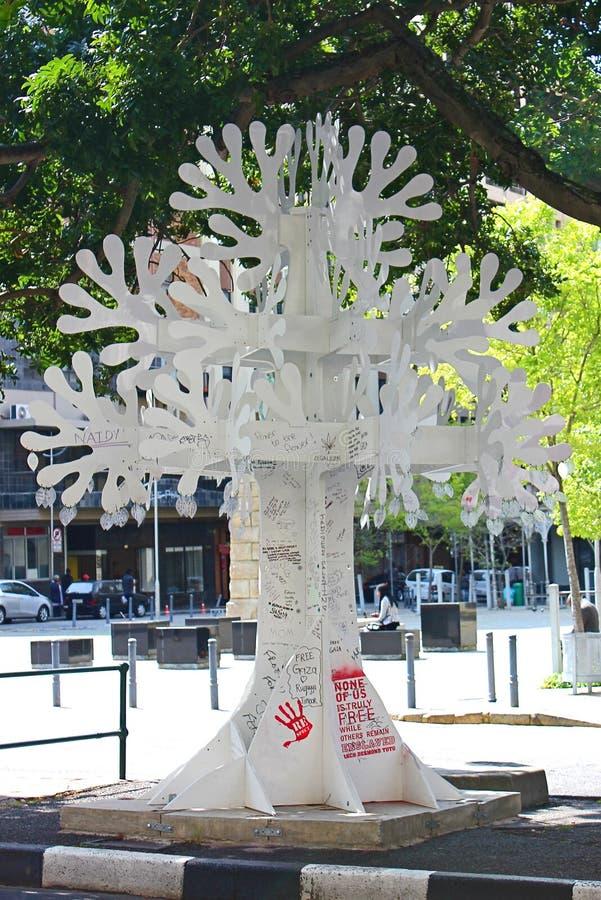 Drzewna rzeźba z graffiti, w centrum Kapsztad, Południowa Afryka obrazy stock