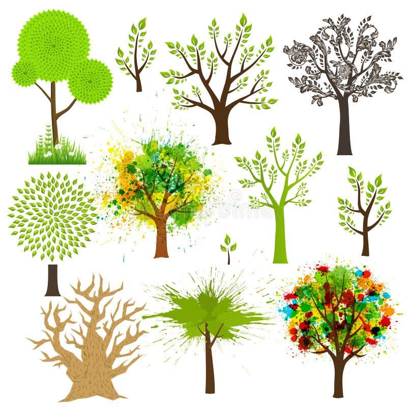 Drzewna super kolekcja różni style ilustracji