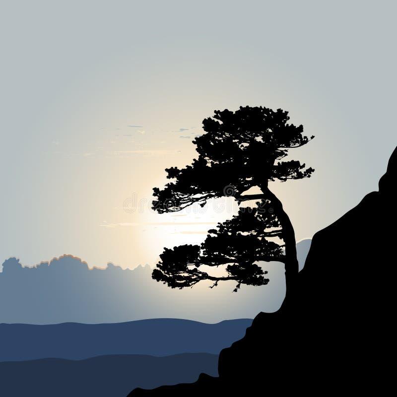 Drzewna sylwetka na halnym tle ilustracja wektor