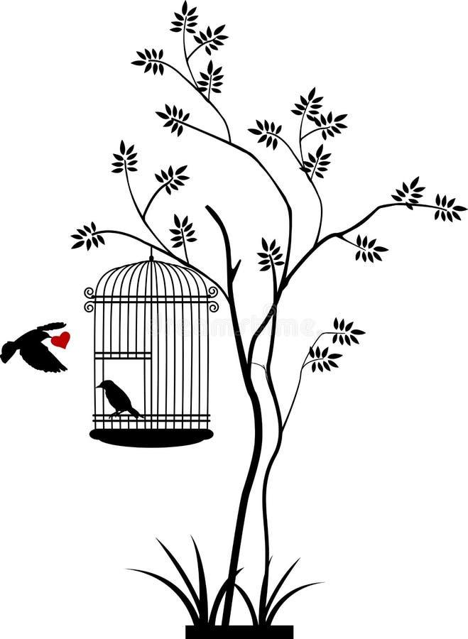 Drzewna sylwetka z ptasim lataniem ilustracja wektor