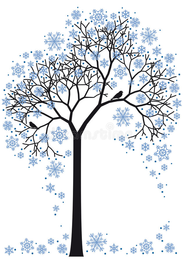 drzewna zima ilustracja wektor