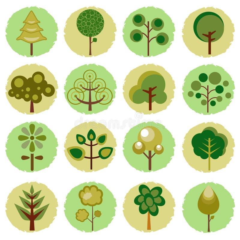 drzewne abstrakcjonistyczne ikony ilustracji