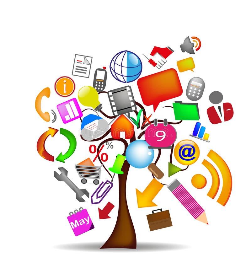 drzewne biznesowe ikony ilustracja wektor