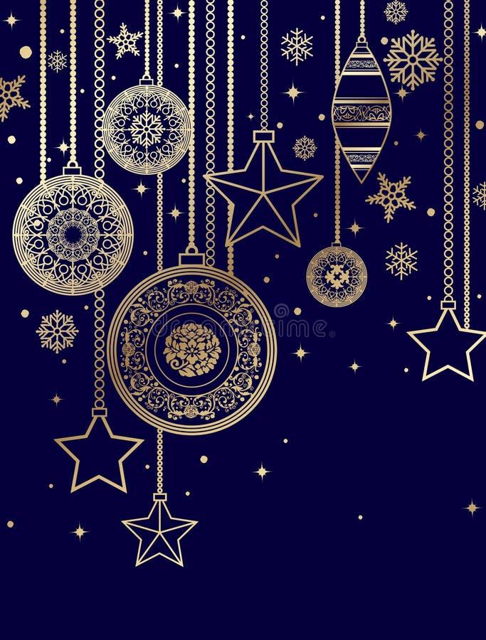 drzewne Boże Narodzenie dekoracje ilustracja wektor