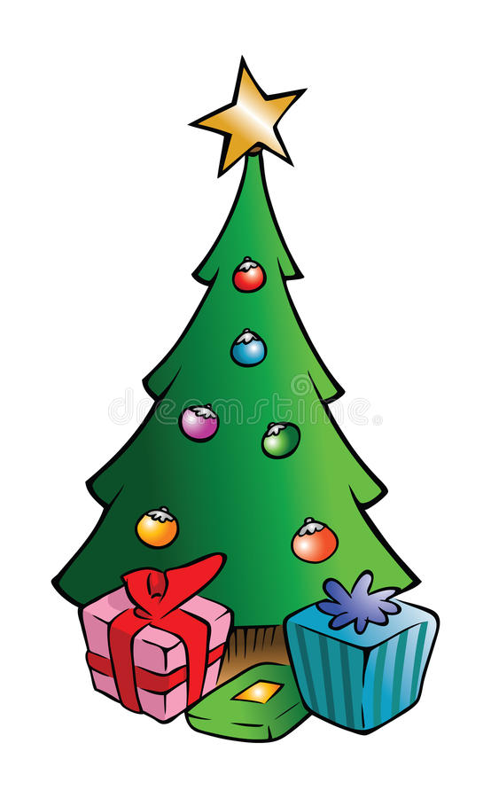 drzewne Boże Narodzenie teraźniejszość ilustracja wektor
