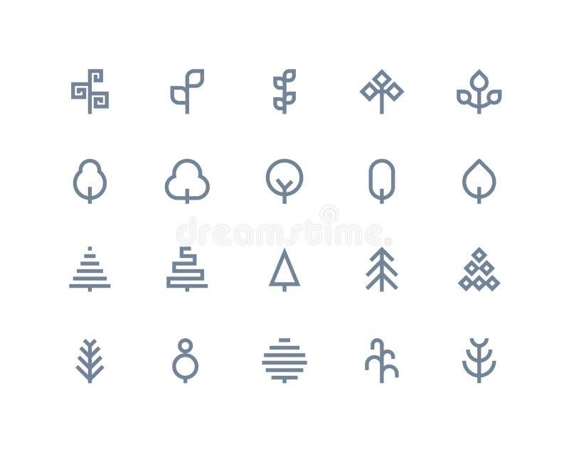 Drzewne ikony Kreskowe serie ilustracja wektor
