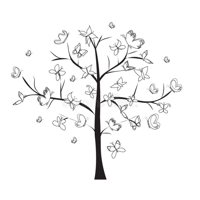 Drzewne motylie czarne linie doodle białego tło ilustracja wektor