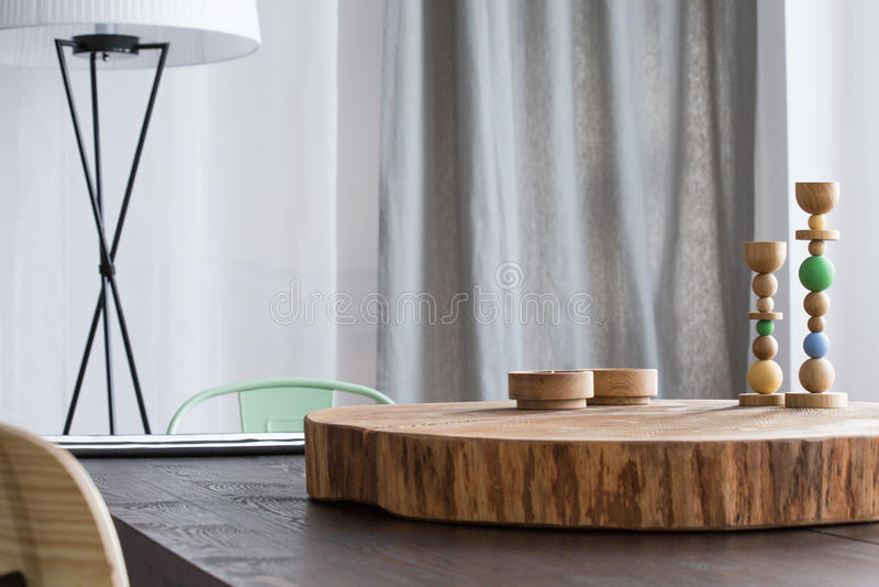 drzewne stołowe dekoracj zabawki zdjęcie royalty free