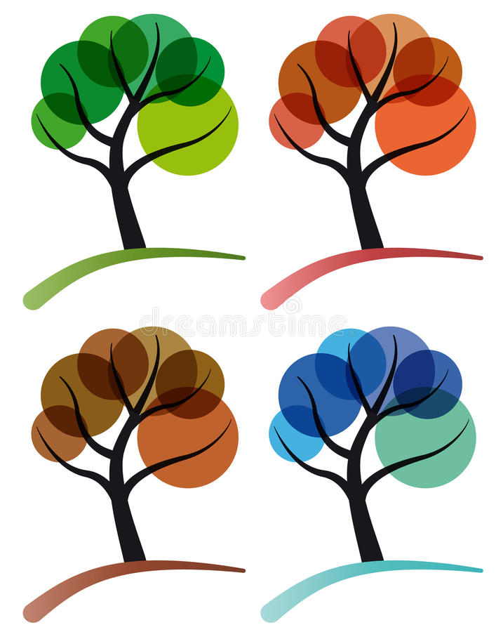 drzewnego cztery sezonu ilustracja wektor