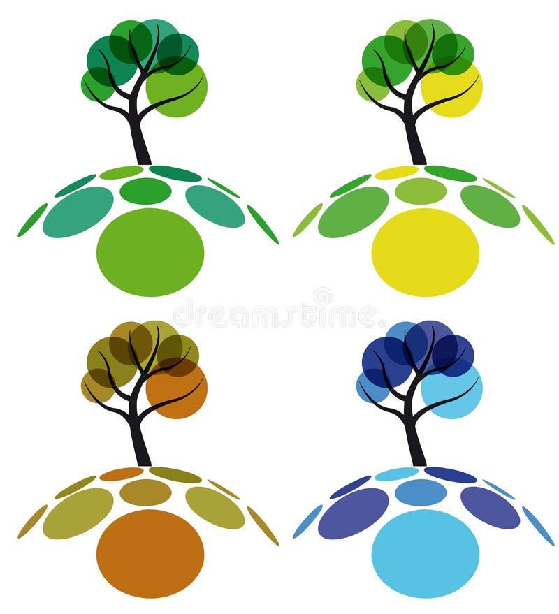 drzewnego cztery sezonu ilustracji