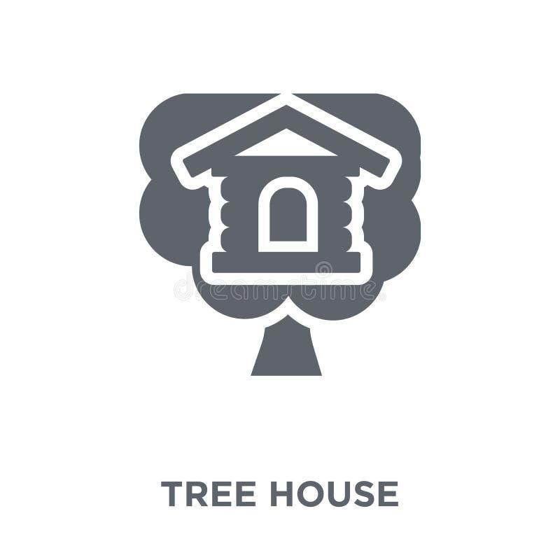 Drzewnego domu ikona od nieruchomości kolekcji ilustracja wektor