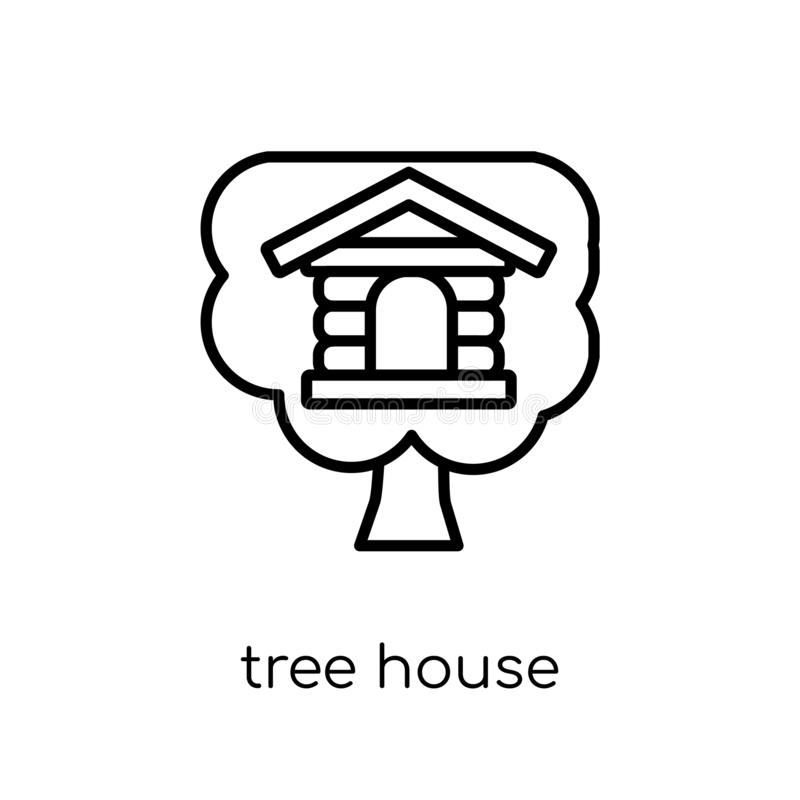 Drzewnego domu ikona od nieruchomości kolekcji royalty ilustracja