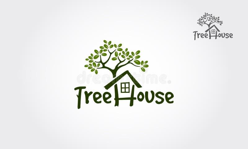 Drzewnego domu logo Wektorowa ilustracja royalty ilustracja