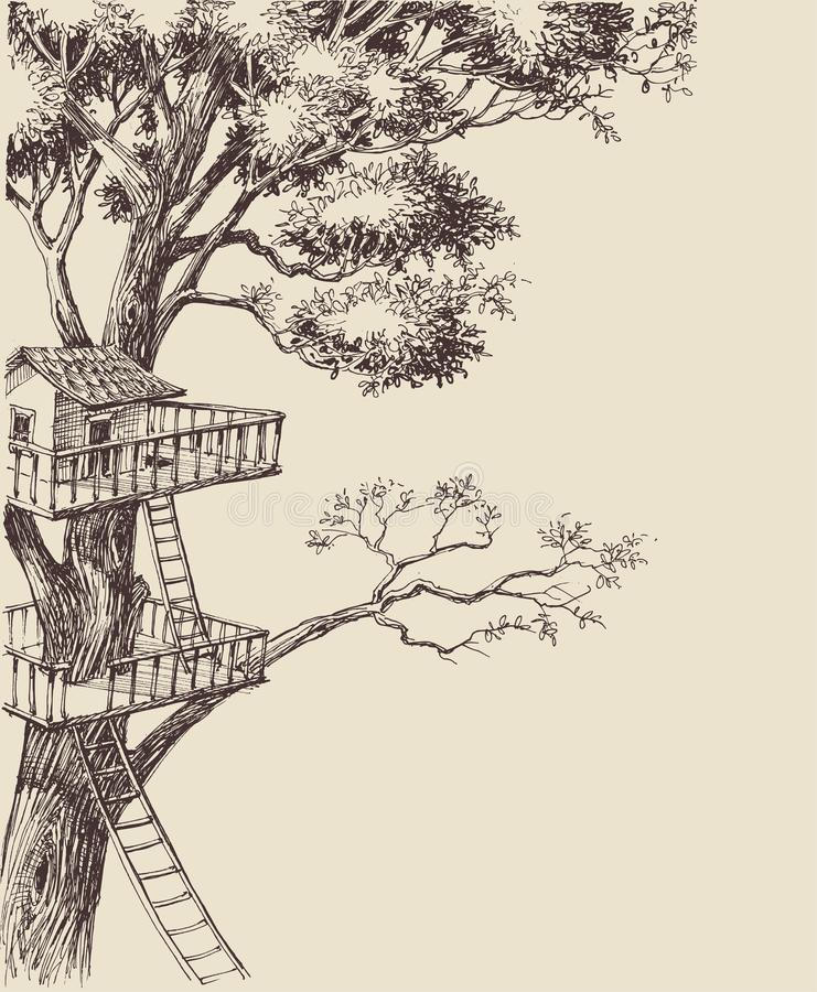 Drzewnego domu tło ilustracji