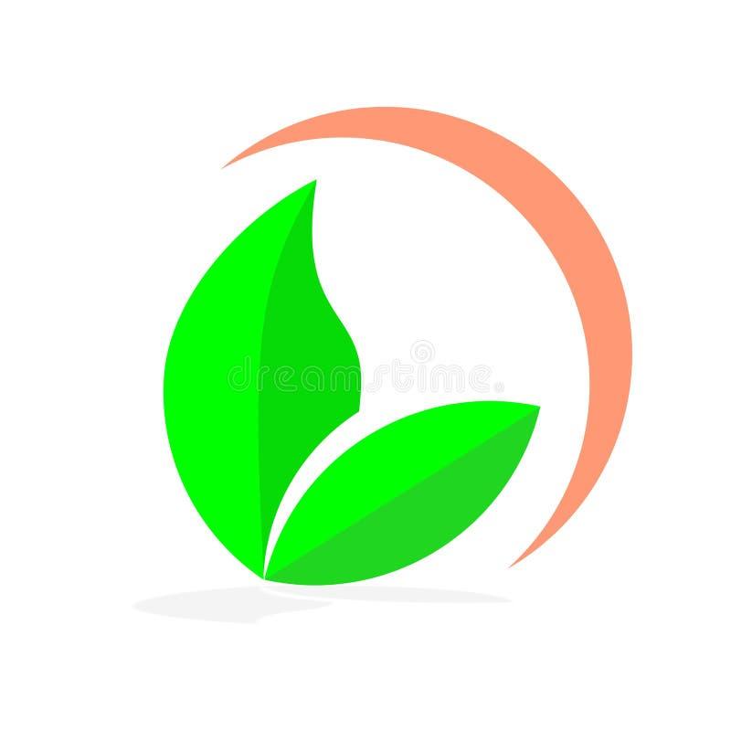Drzewnego liścia loga wektorowy projekt, życzliwy pojęcie ilustracja wektor