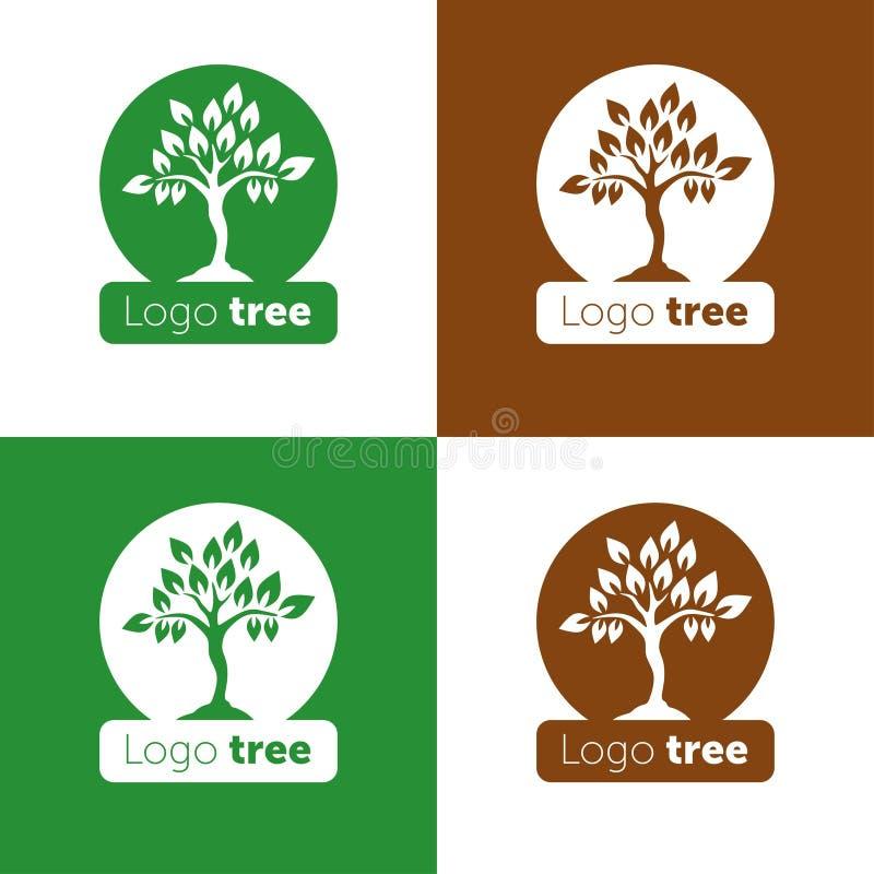 Drzewnego logo abstrakcjonistycznego projekta szablonu negatywu przestrzeni wektorowy styl Abstrakcjonistyczna drzewna loga wekto ilustracji