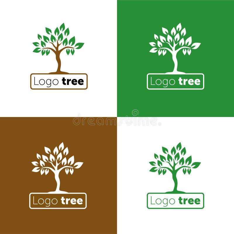 Drzewnego logo abstrakcjonistycznego projekta szablonu negatywu przestrzeni wektorowy styl Abstrakcjonistyczna drzewna loga wekto ilustracja wektor