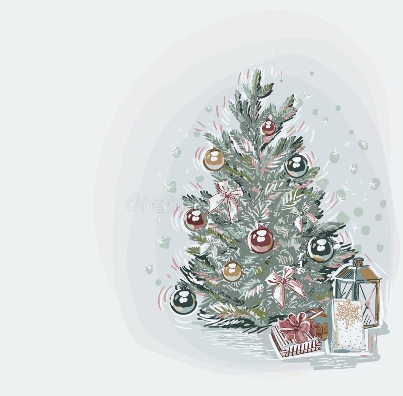 Drzewnego teraźniejszości kartki bożonarodzeniowej tła błękitnego wektorowego miękkiego koloru farby pastelowy styl ilustracja wektor