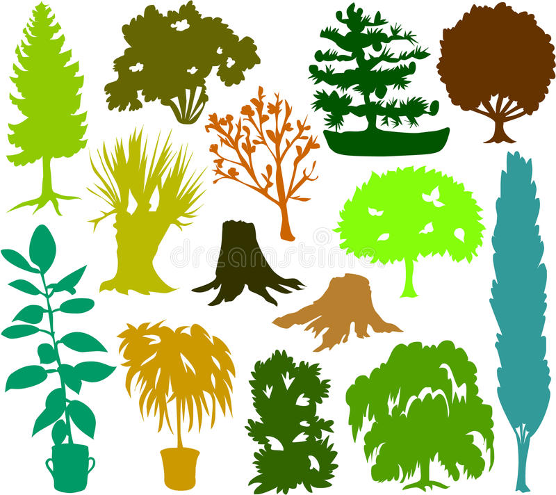 drzewnej 02 sylwetki ilustracja wektor