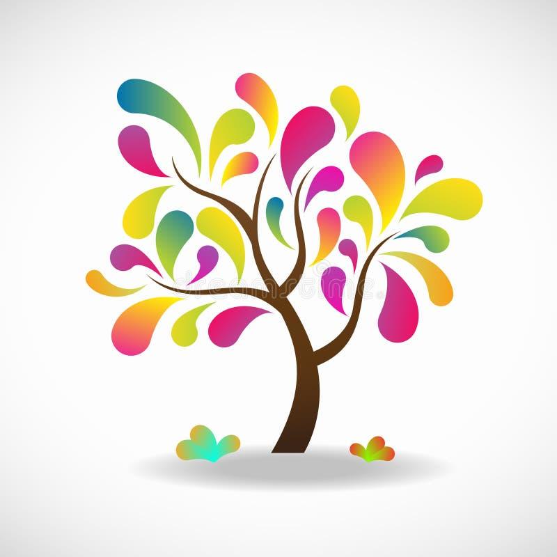 Drzewnej fantazi pełnych kolorów jaskrawy abstrakcjonistyczny wektorowy tło ilustracji